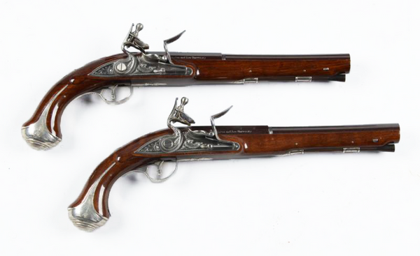Washington & Lee Silver Mounted Flintlock Pistols
