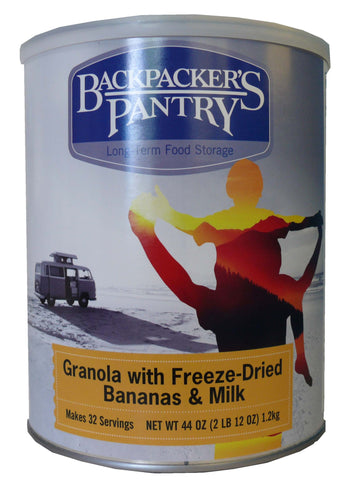 Backpacker's Pantry Granola with Freeze-Dried Bananas and Milk #10 Cans (Case of 4) - Forge Survival Supply