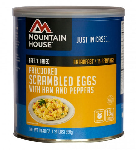 Mountain House Freeze-Dried Pre-Cooked Scrambled Eggs with Ham and Peppers #10 Cans (Case of 6) - Forge Survival Supply