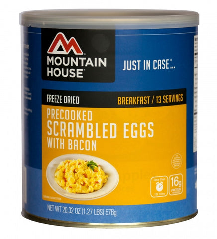 Mountain House Freeze-Dried Pre-Cooked Scrambled Eggs with Bacon #10 Cans (Case of 6)