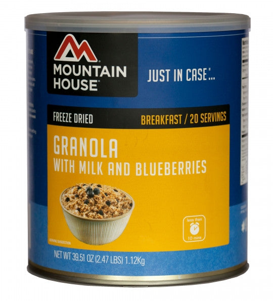 Mountain House Freeze-Dried Granola with Milk and Blueberries #10 Cans (Case of 6) - Forge Survival Supply