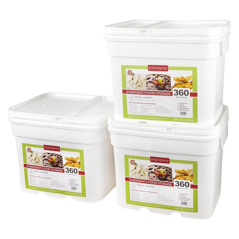 Lindon Farms Freeze-Dried Stackable Emergency Food Storage (1-Person 3-Months 1080 Servings)