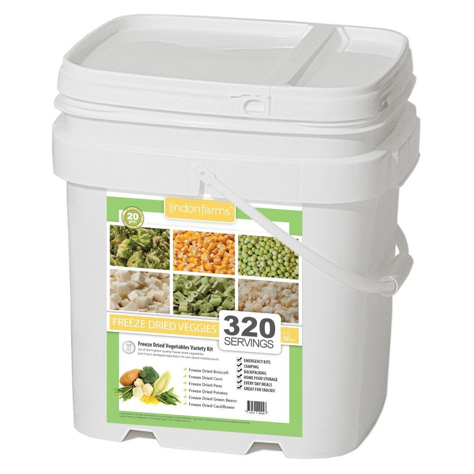 Lindon Farms Stackable Emergency Food Storage Freeze-Dried Vegetables (1-Person 1-Month 320 Servings)