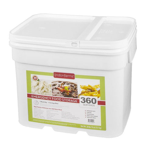 Lindon Farms Freeze-Dried Stackable Emergency Food Storage (1-Person 1-Month 360 Servings)