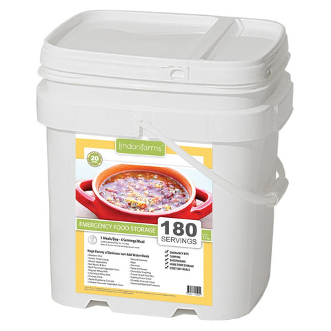 Lindon Farms Freeze-Dried Stackable Emergency Food Storage (1-Person 15-Days 180 Servings)