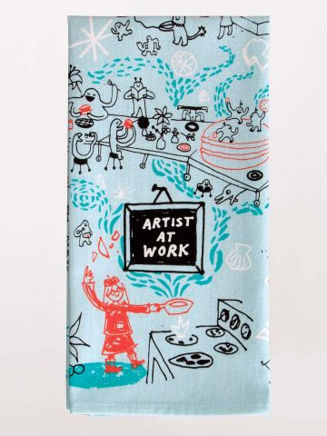 Artist at Work Printed Towel-Tea Towel-Blue Q-The Library Marketplace