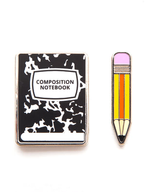 Notebook and Pencil Enamel pin