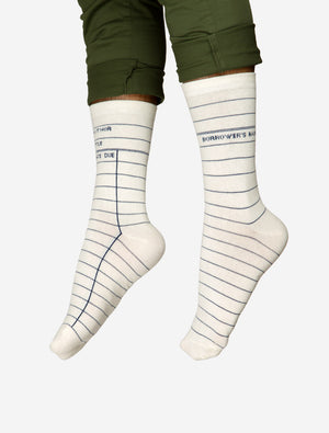 Library Card Socks (White)