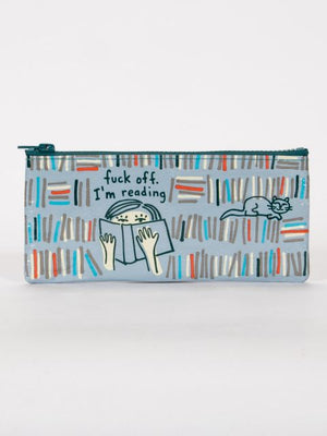 F*** Off, I'm Reading Pencil Case-Pencil Case-Blue Q-The Library Marketplace