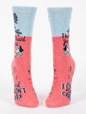 I Heard You. Don't Care. Women's Crew Socks