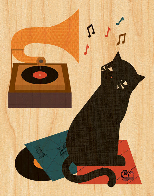 Music Cat-Print-Petit Collage-The Library Marketplace