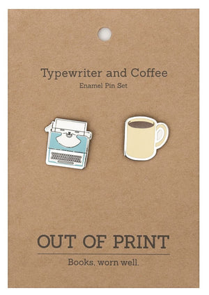 Typewriter and Coffee Enamel pin