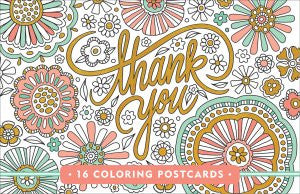 Thank You Colouring Postcards-Postcards-Peter Pauper Press-The Library Marketplace
