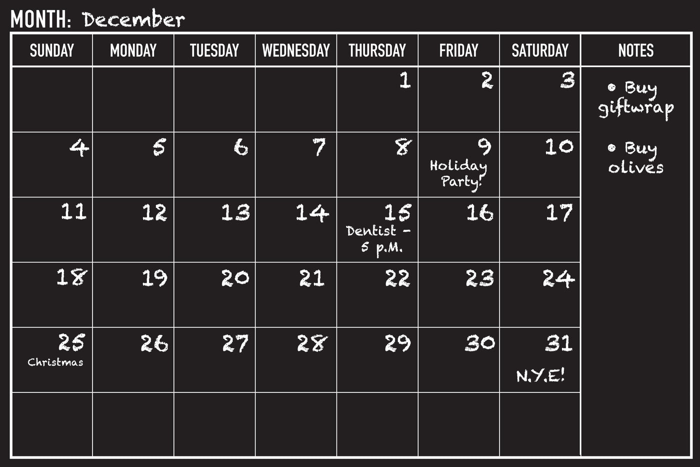 Peel And Stick Chalkboard Calendar The Library Marketplace