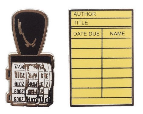 Library Card and Stamp Enamel Pin Set - The Library Marketplace