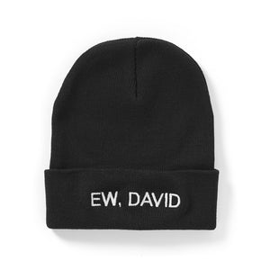 """Ew, David"" Embroidered Knit Beanie"