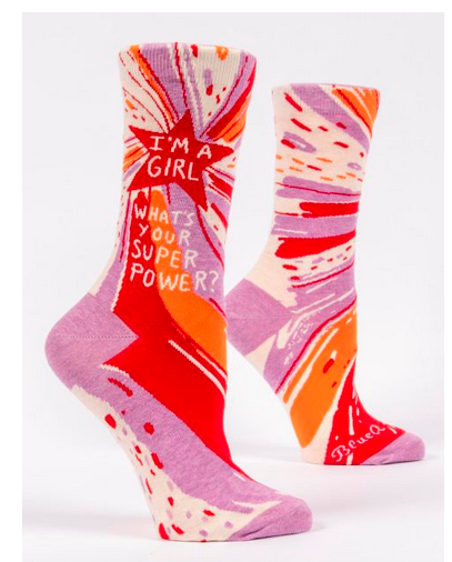 I'm a Girl, What's Your Superpower? W-Crew Socks