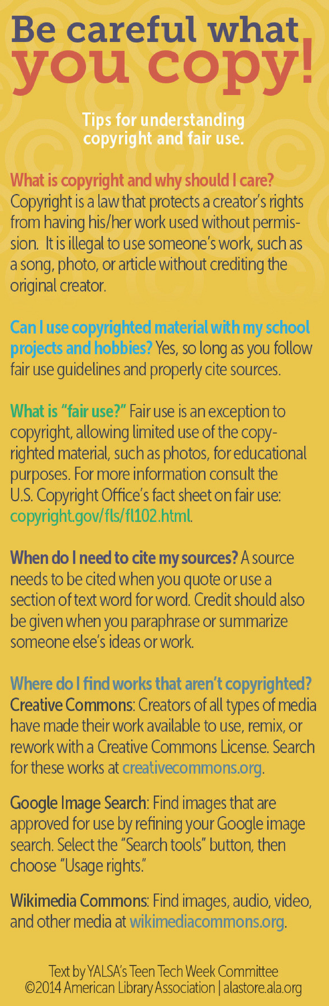 Copyright Tips Bookmark