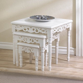 A Charming Set Of Cottage Chic Nesting Accent Tables