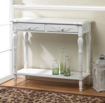 Carved Classic White Hallway Table
