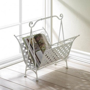 White Basket Weave Magazine Holder