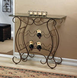 Vineyard Metal and Glass Rack Table