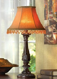 Beaded Leaf-Motif Lamp