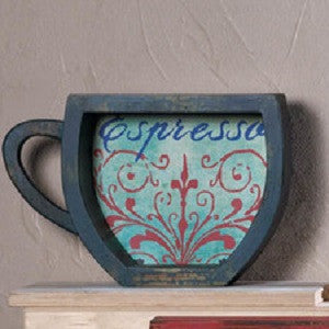 Blue Espresso Coffee Cup Shelf