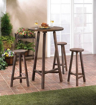 Fir Wood Bar Table and Stools Set of 4