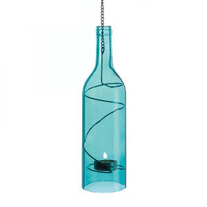 Hanging Bottle Candle holder - Blue