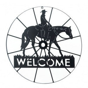 Cowboy Welcome Wheel Sign