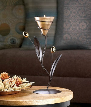 Golden Bloom Candleholder