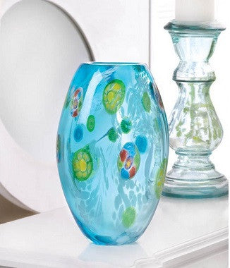 Blue Floral Glass Vase