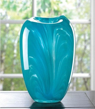Hand Crafted Turquoise Modern Glass Vase