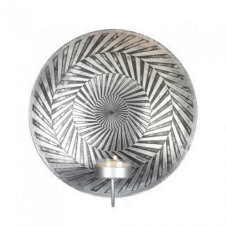 Etched Silver Geometric Sconce