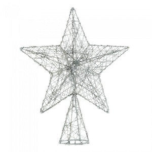 Silver Sparkle Wire Star Tree Topper