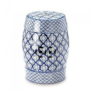 Blue & White Ceramic Decorative Stool