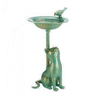 Golden Green Cat Birdbath