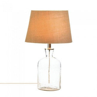 Clear Glass Ripple Bottle Table Lamp