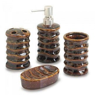 Brown Stone Bath Accessory Set