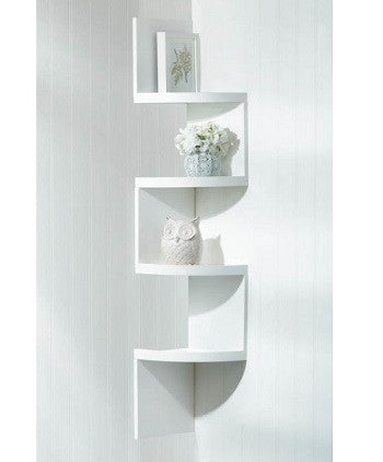 Zig Zag White 4-Tier Corner Shelf