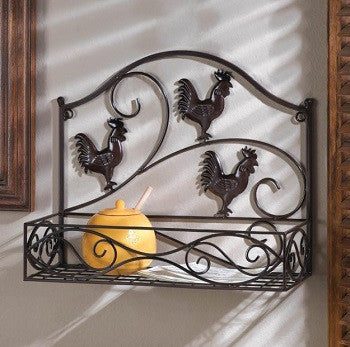 Three Rooster Wall Basket