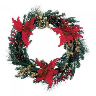 24 Inch Faux Poinsettia Christmas Wreath