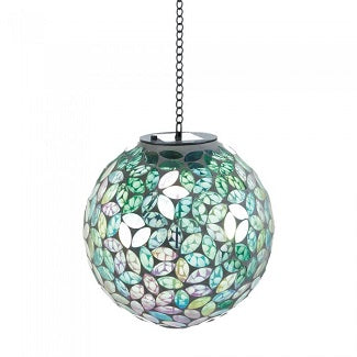 Dazzling Shades Of Green Solar Mosaic Ball-Large