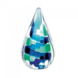 Pixel Blue Tear Drop Glass Art