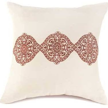 A Ecru and Spice Throw Pillow