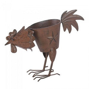 Rooster Planter With Solid Feather