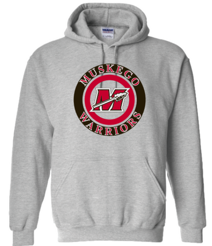 Muskego Warriors Target Logo Gray Men's Hoodie