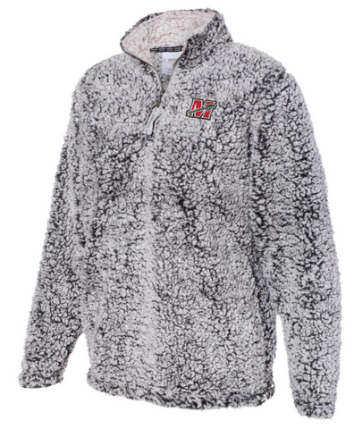 Black Heather Sherpa 1/4 Zip Ladies Pullover