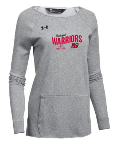 "Ladies ""Original Warriors"" Under Armour Gray Hustle Fleece Crew"